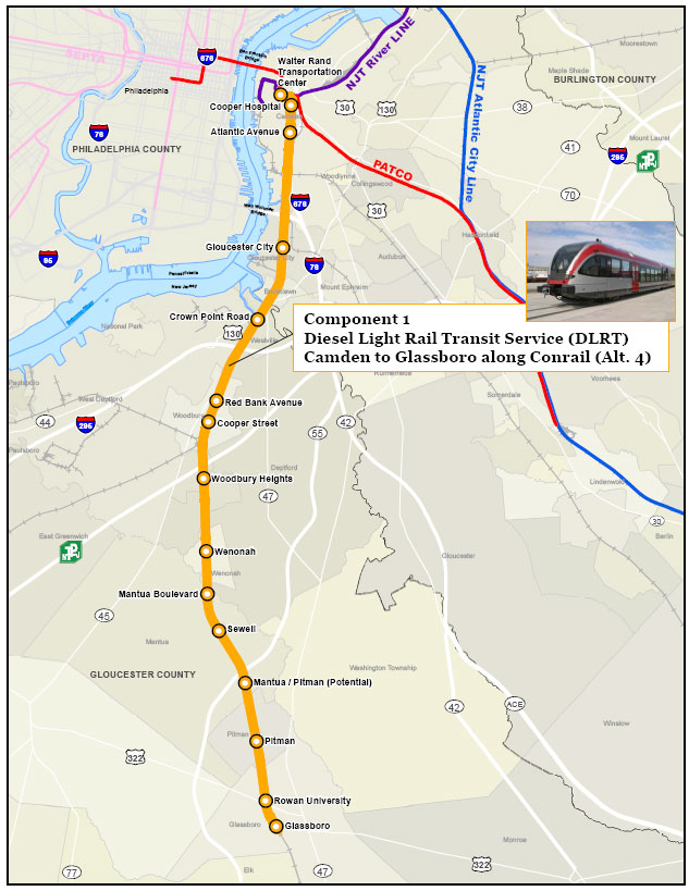 PATCO Light Rail Expansion Route