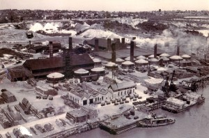historic aerial photo of the Raritan Hollow and Porous Brick Company.