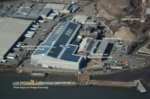 arial photo of Solar panels atop Bayshore Recycling materials recovery facility.