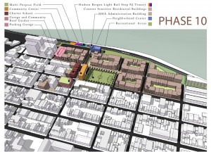 Site plan showing new vision for low-income housing and neighborhood redevelopment envisioned by the Hoboken Housing Authority.