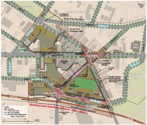 Concept plan for Bloomfield's town center redevelopment.