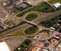 Aerial of cloverleaf highway design.