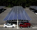Solar installation over parking lot at Stockton College.
