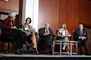 Ingrid Reed, Business Action Center Acting Executive Director Linda Kellner, DCA Assistant Commissioner Charles Richman, DEP Assistant Commissioner Michele Siekerka and DOT Commissioner Jim Simpson at the Redevelopment Forum 2012 Plenary Session