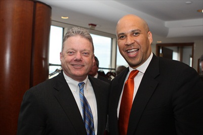 Joseph M. Taylor, chairman and chief executive officer of Panasonic Corporation of North America with Mayor Cory Booker