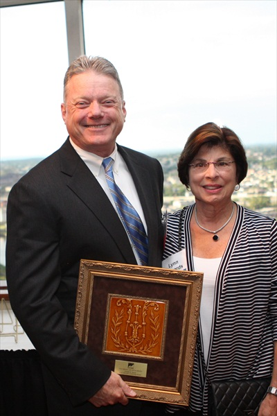Joseph M. Taylor, 2012 recipient of the Cary Edwards Leadership Award with Mrs. Lynn Edwards