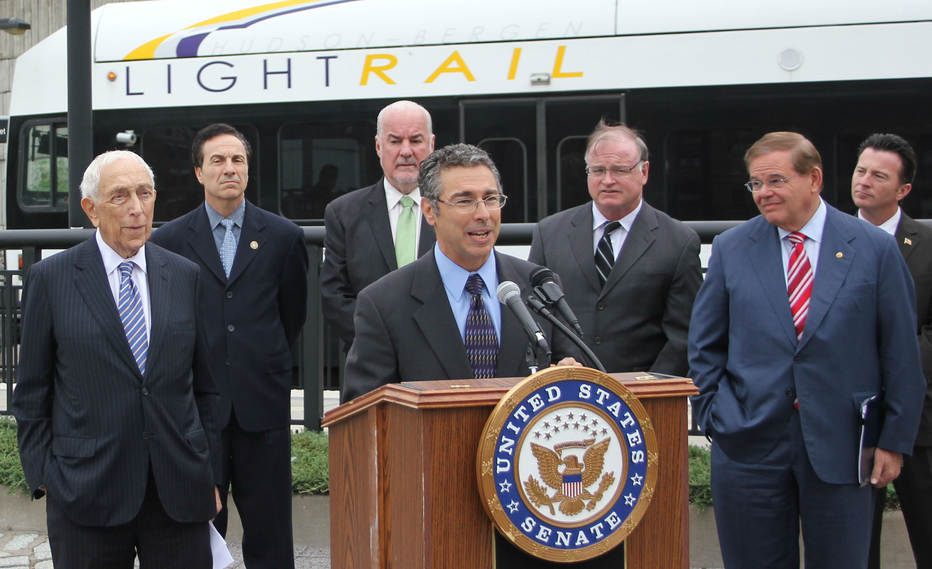 New Jersey Future Executive Director Peter Kasabach at the press conference announcing receipt of a $400,000 grant to examine the possibility of building a new light rail station in Jersey City.