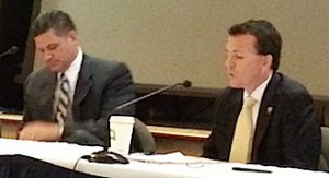 Assembly Majority Leader Louis Greenwald (D-Camden), on left, and Assemblyman Declan O'Scanlon (R-Monmouth) at property tax cut session.
