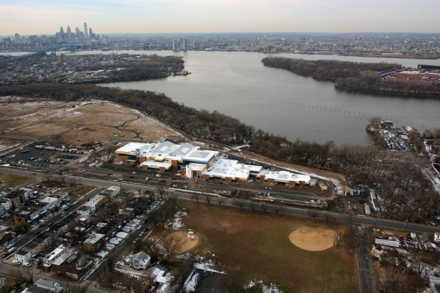 Aerial View of Kroc Community Center and Surrounding Delaware River