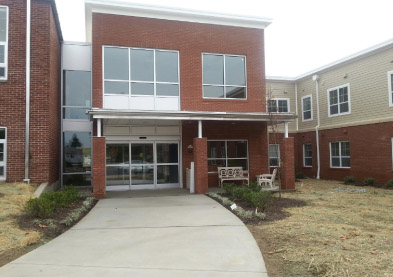 Main Entrance to Springside School. To the left is the historic building and to the right is the new construction