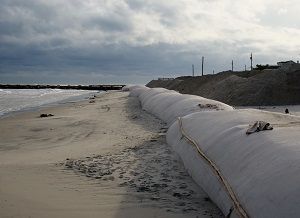 Geotubes being installed in Ocean City, N.J. Photo: TenCate