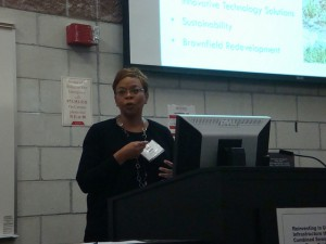 Camden Mayor Dana Redd speaks to attendees at a workshop on addressing combined-sewer overflows.