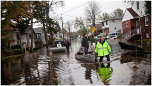 Sandy-related flooding in Little Ferry, a municipality within the New Meadowlands project area. Photo credit: Andrew Burton/Getty Images