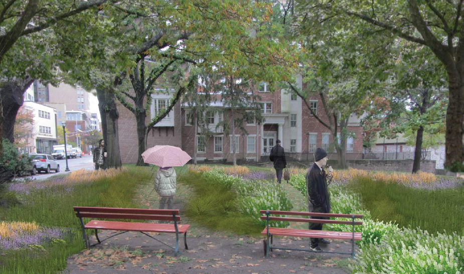 A rendering of outdoor space at Thomas Edison State College, retrofitted with rain gardens to capture stormwater where it falls.