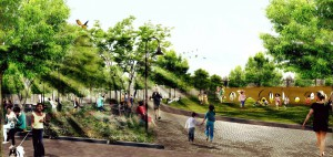 "Hoboken's proposed Southwest Resiliency Park, an example of ""green"" infrastructure intended to capture stormwater before it runs into the city's sewer system."