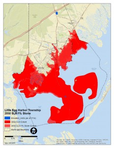 Projected inundation in Tuckerton and Little Egg Harbor in 2050.