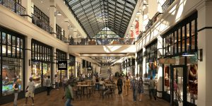 Rendering of the planned retail atrium at the redevloped Hahne's building.