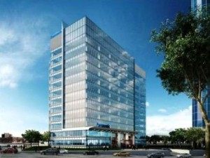 Rendering of the new Panasonic North America headquarters in downtown Newark.