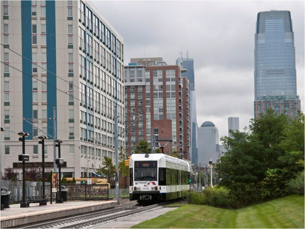 New housing near a Hudson-Bergen Light Rail station in Jersey City. Photo courtesy of NJTPA.