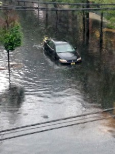 Sewage-laced floodwaters in Hoboken after a heavy rainfall. Photo courtesy of @hobokenemily