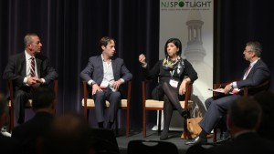 Photo by Amanda Brown, NJSpotlight. Left to right: Paul Silverman of SILVERMAN; Ron Beit of RBH Group; Christiana Foglio-Palmer of Community Investment Strategies, and moderator Peter Kasabach of New Jersey Future