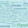 Word cloud highlighting key issues at the Consensus Building Institute's coastal adaptation workshop.