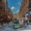 The pedestrian mall in the Banta Place redevelopment project in downtown Hackensack is designed to retain stormwater and reduce combined sewer overflows.
