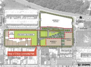 Per Hoboken's Bijou Jackson and 7th Redevelopment Agreement, Bijou Properties will construct a two-acre park, build a green roof and use low-flow fixtures, reducing combined sewer overflows with private funds.