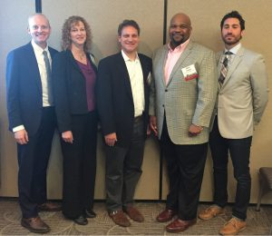 panelists. From left to right: Russ Dudley, Tetra Tech; Michele Adams, Meliora Design; Eric Rothman, HR&A Advisors, Inc.; Christopher Franklin, Brandywine Realty Trust; Matthew Testa, Bijou Propoerties