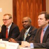 Panelists Tom Wright, Adrian Mapp and Thomas Kean Jr. at the Redevelopment Forum's session on the Gateway Tunnel
