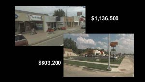 """The taco joint on the right might be newer, but the """"blighted"""" block on the left was more tax-productive."""