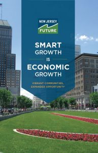 Cover of smart growth recommendation brochure showing buildings on a city green