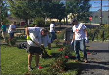Trainees and volunteers during installation of Waterfront South rain gardens in Camden, New Jersey