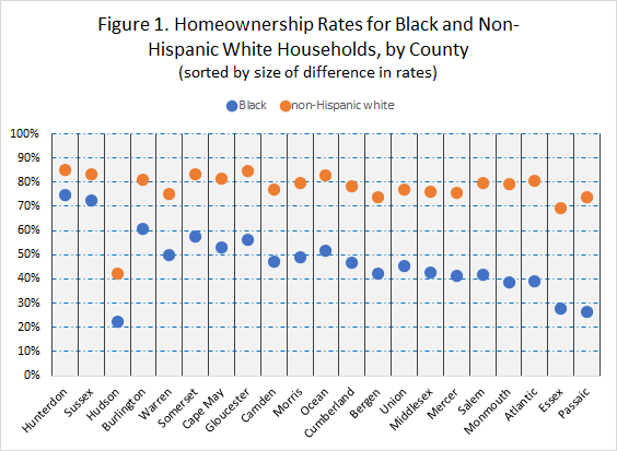Homeownership rates for black and non-hispnanic white households by county