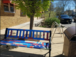 Bench installed as part of the Highland Park streetscape project.