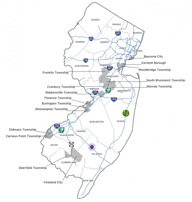 Of the 15 municipalities in which warehousing has consumed the largest amounts of previously-undeveloped acreage since 1995 (as estimated by a combination of increased industrial land area and increased employment in the goods-movement sectors of the economy), most are clustered near New Jersey Turnpike interchanges, offering trucks a direct route to ports.